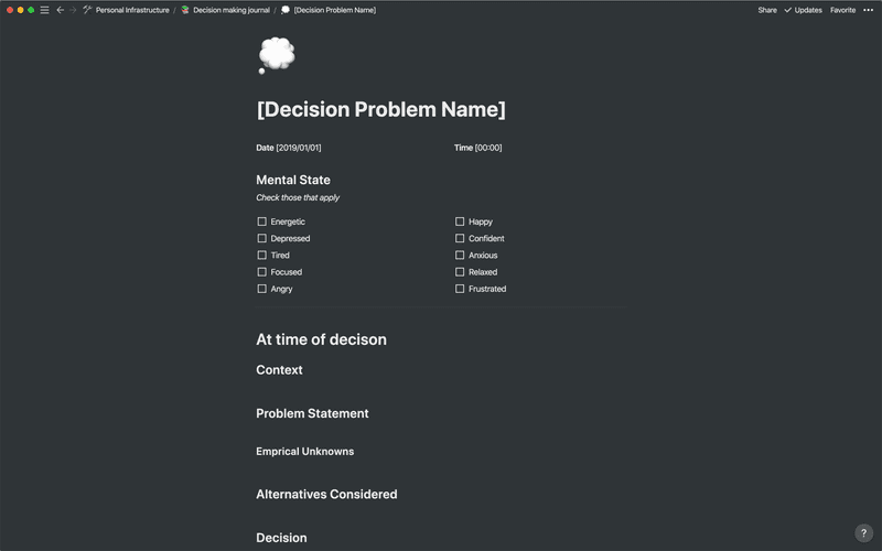 My Decision Making Template in Notion
